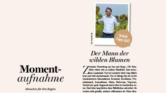 Jakob Lipp ist der Mann der wilden Blumen lt. Magazin Die Oberbayerin